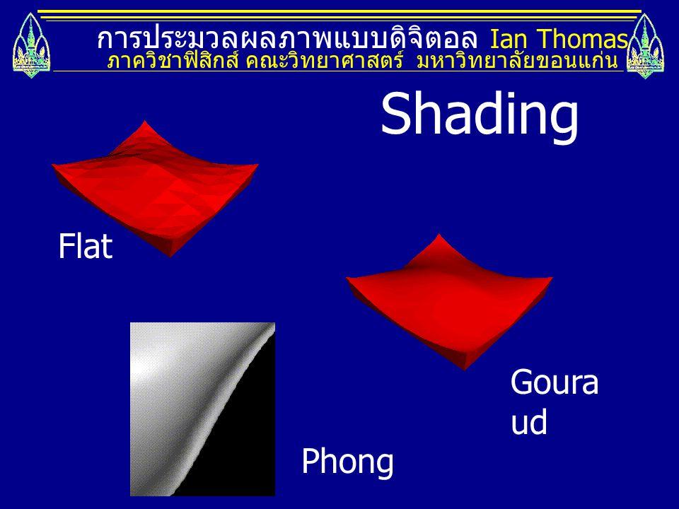 การประมวลผลภาพแบบดิจิตอล Ian Thomas ภาควิชาฟิสิกส์ คณะวิทยาศาสตร์ มหาวิทยาลัยขอนแก่น Flat Goura ud Phong Shading