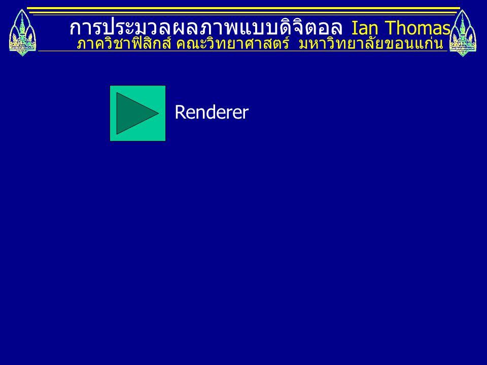 การประมวลผลภาพแบบดิจิตอล Ian Thomas ภาควิชาฟิสิกส์ คณะวิทยาศาสตร์ มหาวิทยาลัยขอนแก่น Renderer