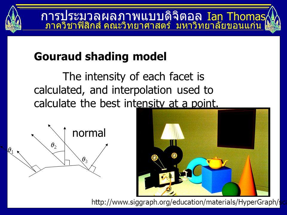 การประมวลผลภาพแบบดิจิตอล Ian Thomas ภาควิชาฟิสิกส์ คณะวิทยาศาสตร์ มหาวิทยาลัยขอนแก่น Gouraud shading model The intensity of each facet is calculated,