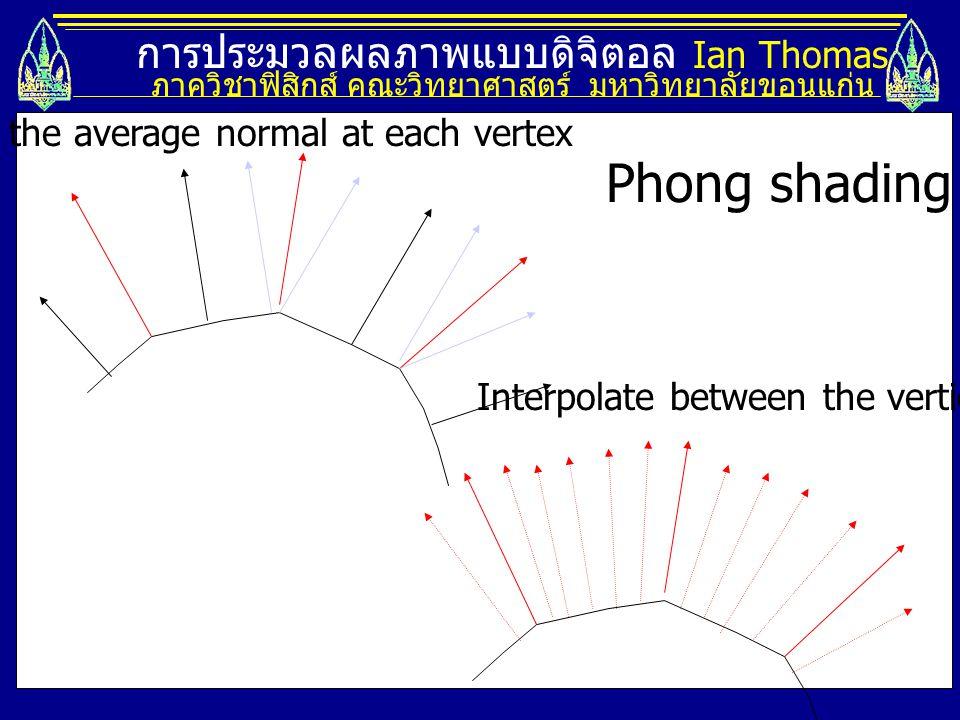 การประมวลผลภาพแบบดิจิตอล Ian Thomas ภาควิชาฟิสิกส์ คณะวิทยาศาสตร์ มหาวิทยาลัยขอนแก่น Find the average normal at each vertex Interpolate between the ve