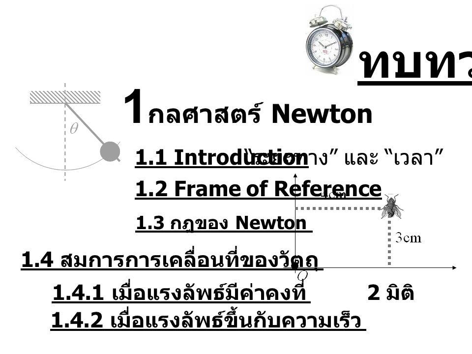 1 กลศาสตร์ Newton 1.1 Introduction ระยะทาง และ เวลา 1.2 Frame of Reference 2 มิติ 1.3 กฎของ Newton 1.4 สมการการเคลื่อนที่ของวัตถุ 1.4.1 เมื่อแรงลัพธ์มีค่าคงที่ 1.4.2 เมื่อแรงลัพธ์ขึ้นกับความเร็ว ทบทวน