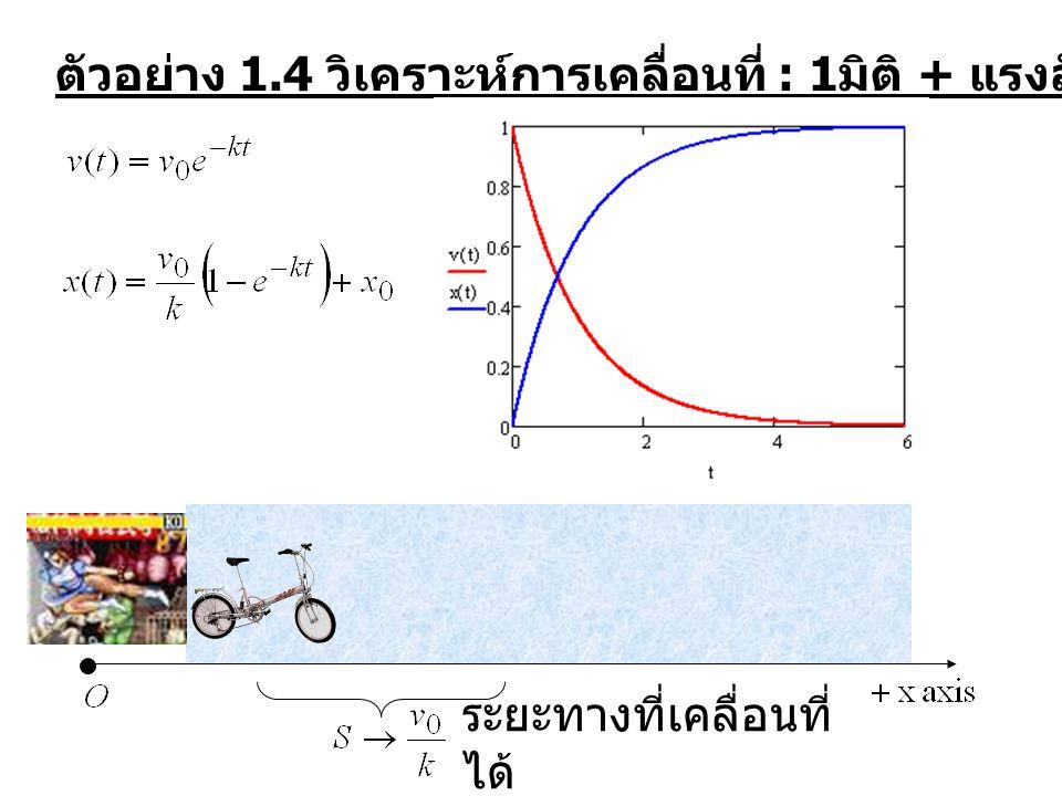 ตัวอย่าง 1.7 Projectile แรง air drag การเคลื่อนที่แกน x และ แกน y แยกเป็นอิสระต่อกัน โดยที่ ระยะเวลาที่อยู่ในอากาศ (Time of Flight) .