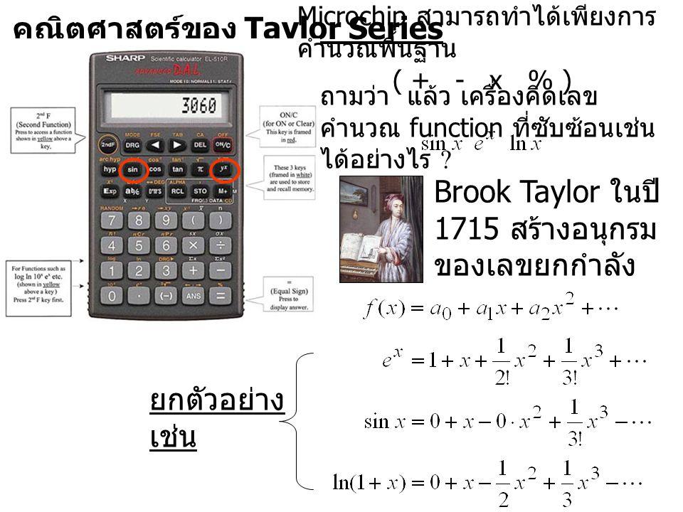 คณิตศาสตร์ของ Taylor Series Microchip สามารถทำได้เพียงการ คำนวณพื้นฐาน ( + - x % ) ถามว่า แล้ว เครื่องคิดเลข คำนวณ function ที่ซับซ้อนเช่น ได้อย่างไร .