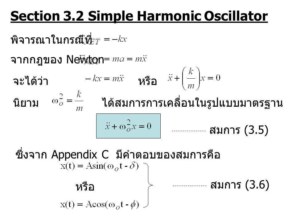 Section 3.2 Simple Harmonic Oscillator พิจารณาในกรณีที่ จากกฎของ Newton จะได้ว่าหรือ นิยามได้สมการการเคลื่อนในรูปแบบมาตรฐาน ซึ่งจาก Appendix C มีคำตอบ