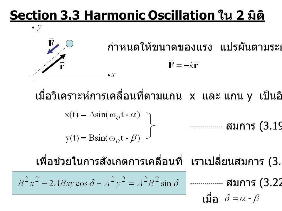 Section 3.3 Harmonic Oscillation ใน 2 มิติ กำหนดให้ขนาดของแรง แปรผันตามระยะจากจุดกำเนิด เมื่อวิเคราะห์การเคลื่อนที่ตามแกน x และ แกน y เป็นอิสระต่อกันจ