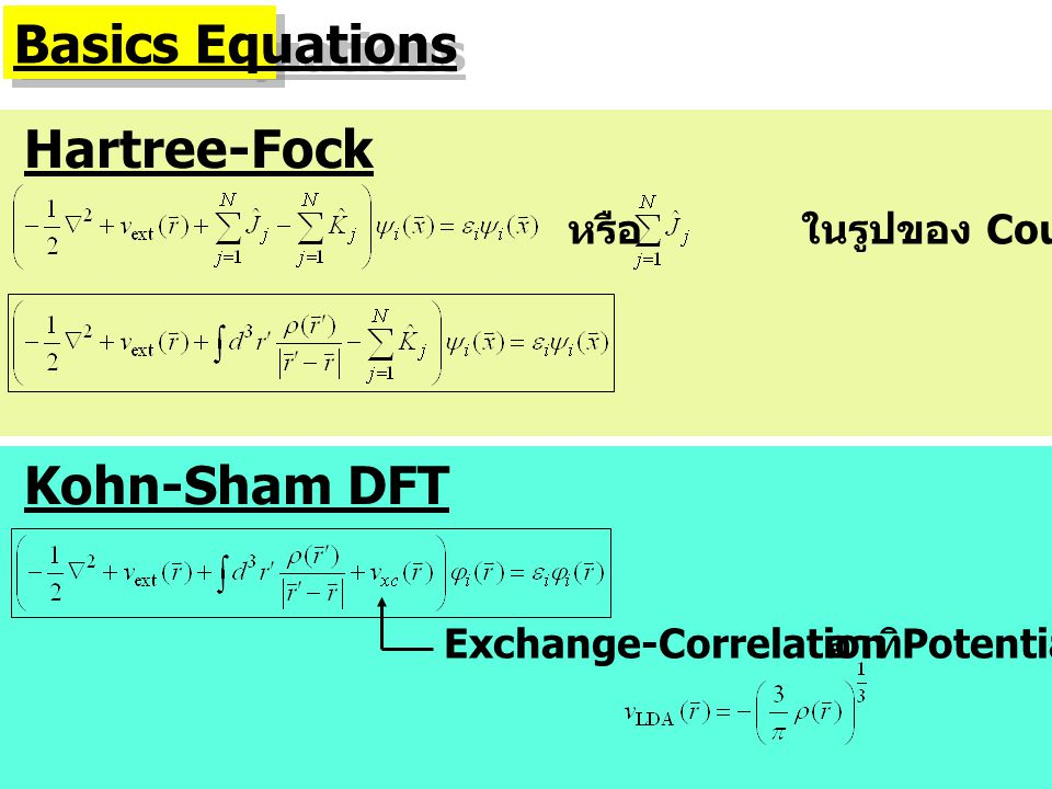 Basics Equations Hartree-Fock หรือ ในรูปของ Coulomb Potential Kohn-Sham DFT Exchange-Correlation Potential อาทิ