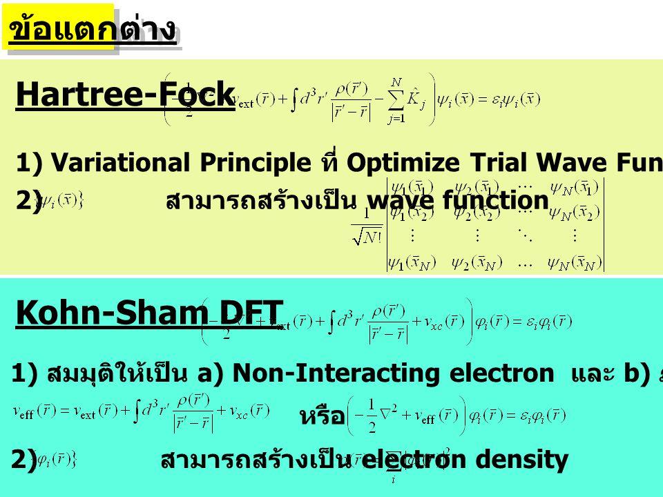 ข้อแตกต่าง Hartree-Fock Kohn-Sham DFT 1) Variational Principle ที่ Optimize Trial Wave Function ของ Interacting System 1) สมมุติให้เป็น a) Non-Interac