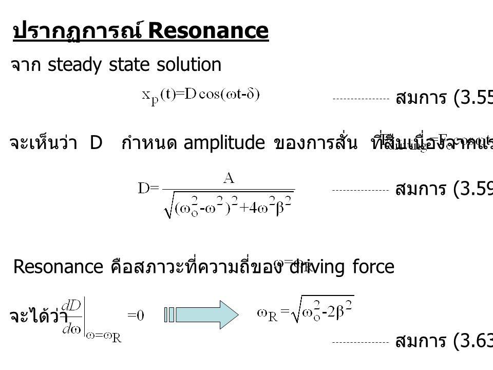 ปรากฏการณ์ Resonance จาก steady state solution สมการ (3.55) จะเห็นว่า D กำหนด amplitude ของการสั่น ที่สืบเนื่องจากแรงกระตุ้น สมการ (3.59) Resonance คือสภาวะที่ความถี่ของ driving force ที่ทำให้ D มีค่าสูงสุด จะได้ว่า สมการ (3.63)