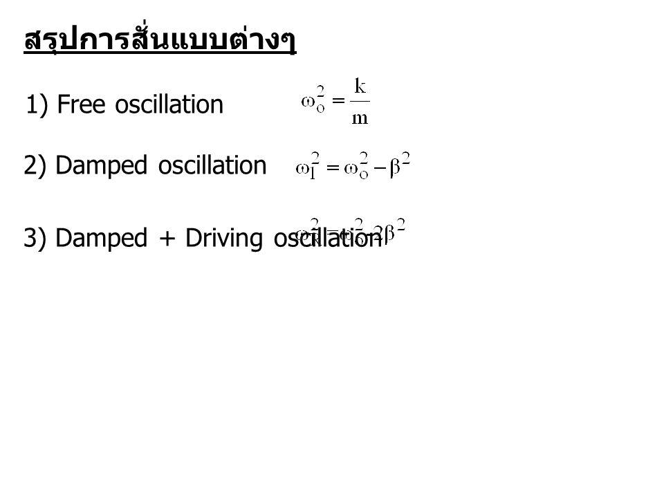 สรุปการสั่นแบบต่างๆ 1) Free oscillation 2) Damped oscillation 3) Damped + Driving oscillation