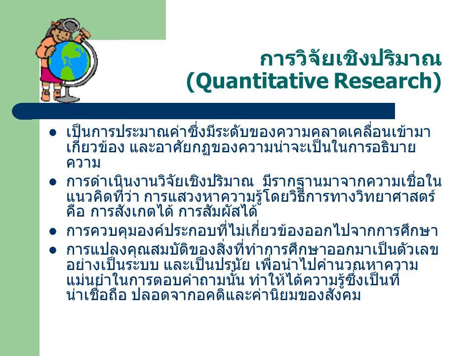 การวิจัยเชิงปริมาณ (Quantitative Research) เป็นการประมาณค่าซึ่งมีระดับของความคลาดเคลื่อนเข้ามา เกี่ยวข้อง และอาศัยกฏของความน่าจะเป็นในการอธิบาย ความ ก