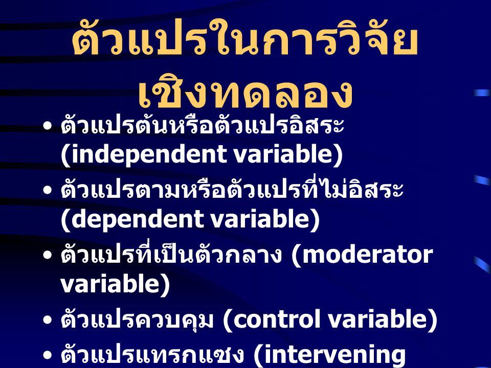 ตัวแปรในการวิจัย เชิงทดลอง ตัวแปรต้นหรือตัวแปรอิสระ (independent variable) ตัวแปรตามหรือตัวแปรที่ไม่อิสระ (dependent variable) ตัวแปรที่เป็นตัวกลาง (moderator variable) ตัวแปรควบคุม (control variable) ตัวแปรแทรกแซง (intervening variable) ตัวแปรที่อยู่นอกแวดวงการทดลอง (extraneous variable) ตัวแปรที่เป็นคุณลักษณะ (attribute variable)