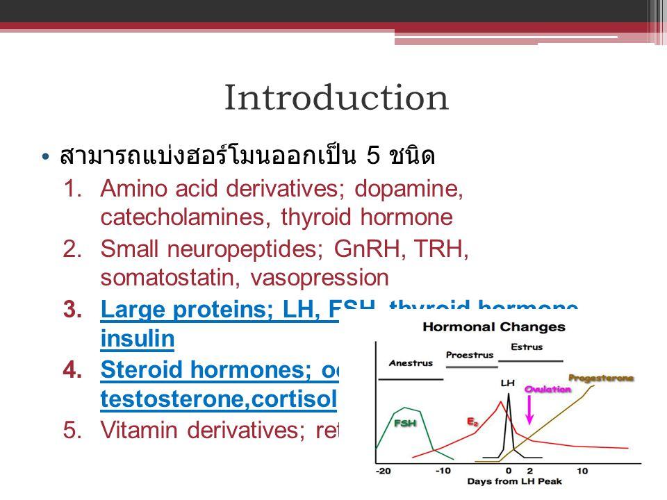Introduction สามารถแบ่งฮอร์โมนออกเป็น 5 ชนิด 1. Amino acid derivatives; dopamine, catecholamines, thyroid hormone 2. Small neuropeptides; GnRH, TRH, s