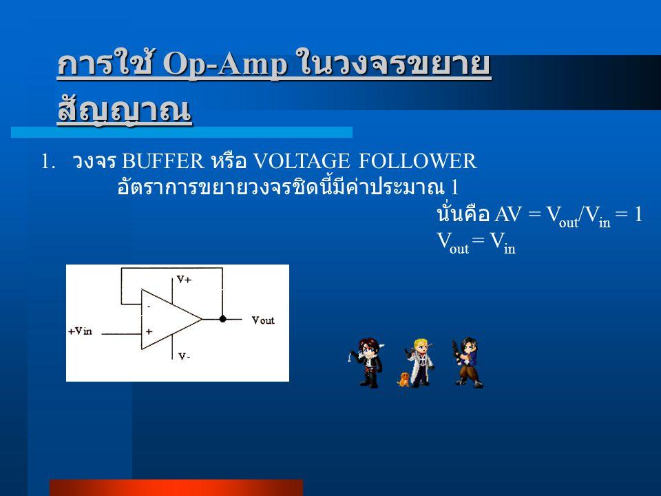การใช้ Op-Amp ในวงจรขยาย สัญญาณ 1. วงจร BUFFER หรือ VOLTAGE FOLLOWER อัตราการขยายวงจรชิดนี้มีค่าประมาณ 1 นั่นคือ AV = V out /V in = 1 V out = V in