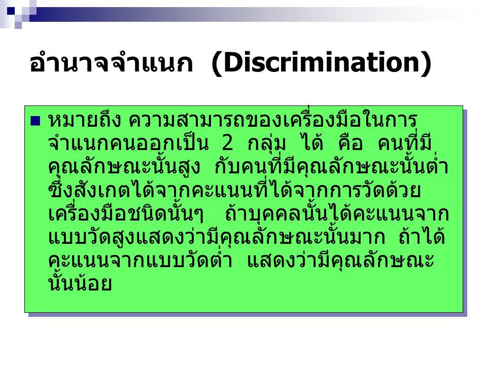 อำนาจจำแนก (Discrimination) หมายถึง ความสามารถของเครื่องมือในการ จำแนกคนออกเป็น 2 กลุ่ม ได้ คือ คนที่มี คุณลักษณะนั้นสูง กับคนที่มีคุณลักษณะนั้นต่ำ ซึ