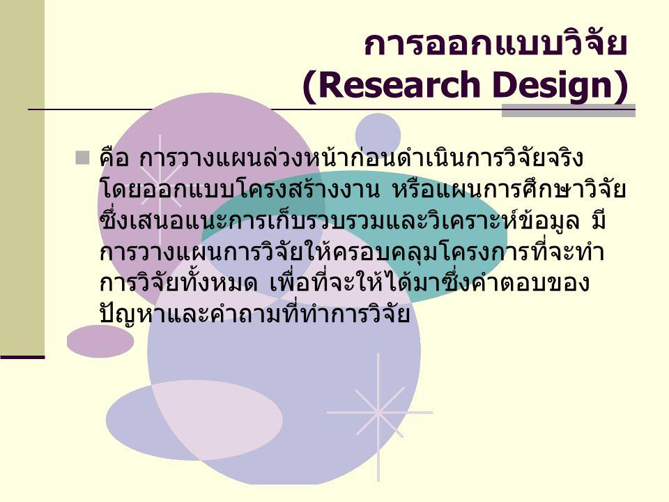 การออกแบบวิจัย (Research Design) คือ การวางแผนล่วงหน้าก่อนดำเนินการวิจัยจริง โดยออกแบบโครงสร้างงาน หรือแผนการศึกษาวิจัย ซึ่งเสนอแนะการเก็บรวบรวมและวิเคราะห์ข้อมูล มี การวางแผนการวิจัยให้ครอบคลุมโครงการที่จะทำ การวิจัยทั้งหมด เพื่อที่จะให้ได้มาซึ่งคำตอบของ ปัญหาและคำถามที่ทำการวิจัย