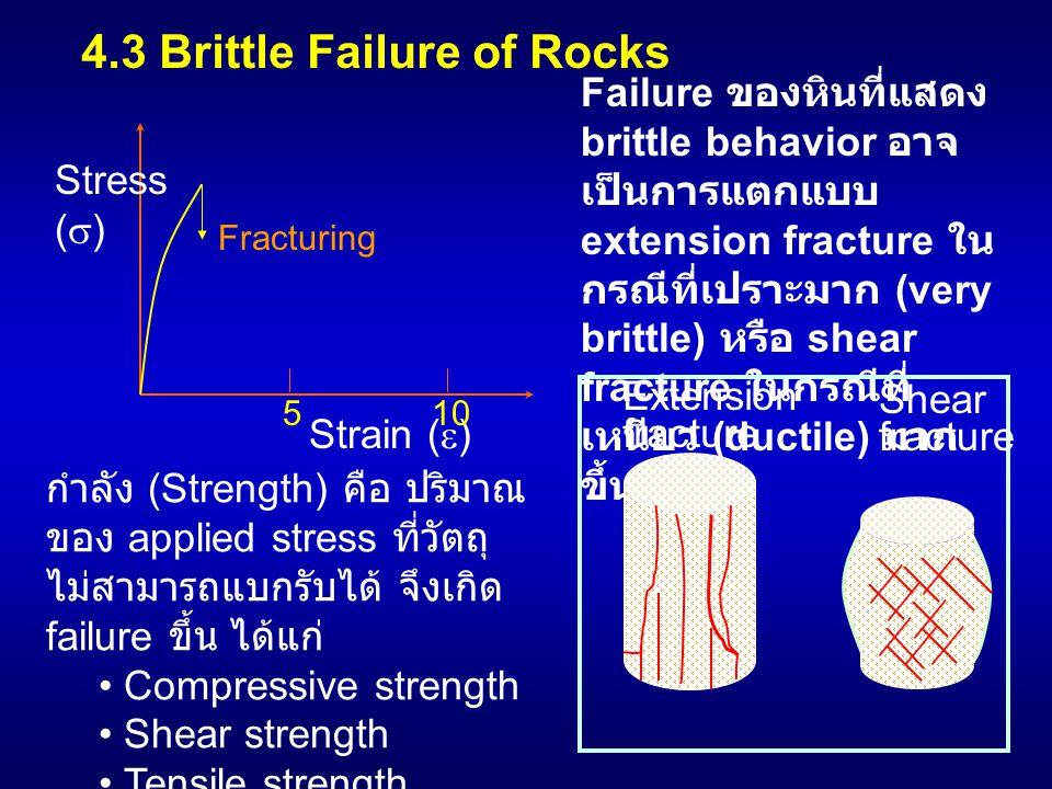 4.3 Brittle Failure of Rocks Failure ของหินที่แสดง brittle behavior อาจ เป็นการแตกแบบ extension fracture ใน กรณีที่เปราะมาก (very brittle) หรือ shear