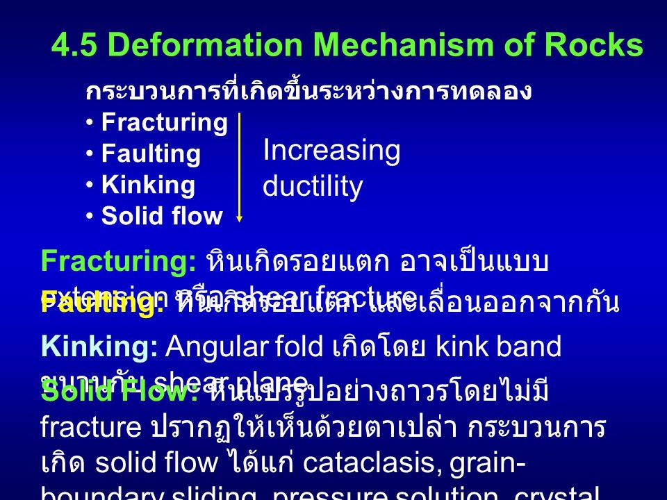 4.5 Deformation Mechanism of Rocks กระบวนการที่เกิดขึ้นระหว่างการทดลอง Fracturing Faulting Kinking Solid flow Increasing ductility Fracturing: หินเกิด