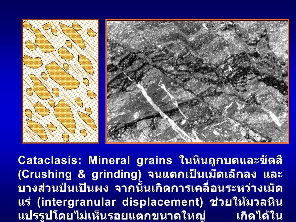 Cataclasis: Mineral grains ในหินถูกบดและขัดสี (Crushing & grinding) จนแตกเป็นเม็ดเล็กลง และ บางส่วนป่นเป็นผง จากนั้นเกิดการเคลื่อนระหว่างเม็ด แร่ (int