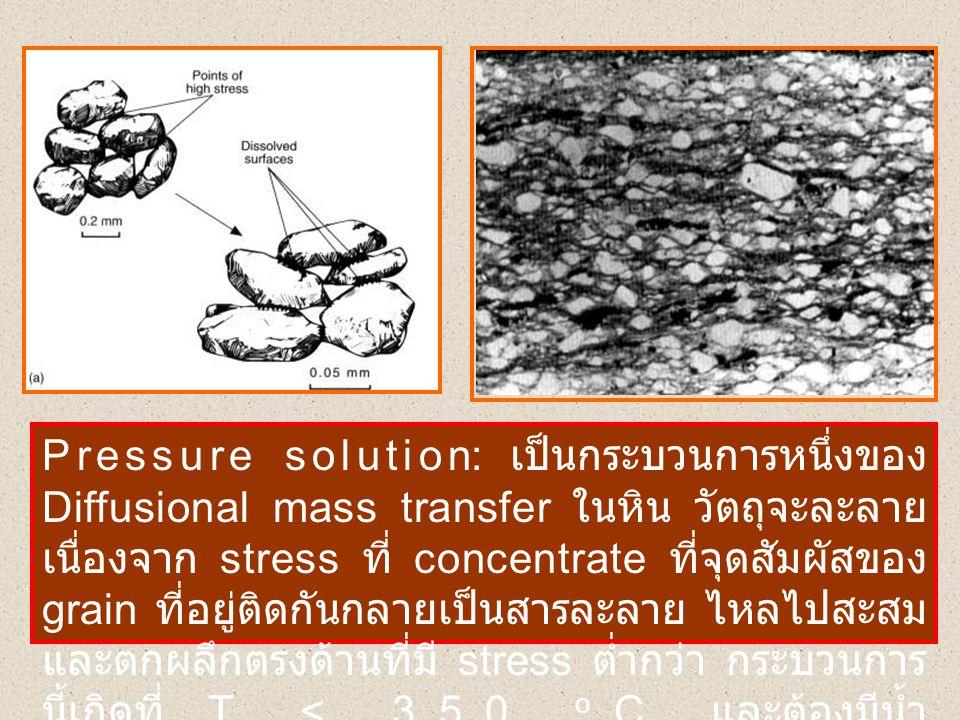 Pressure solution: เป็นกระบวนการหนึ่งของ Diffusional mass transfer ในหิน วัตถุจะละลาย เนื่องจาก stress ที่ concentrate ที่จุดสัมผัสของ grain ที่อยู่ติ