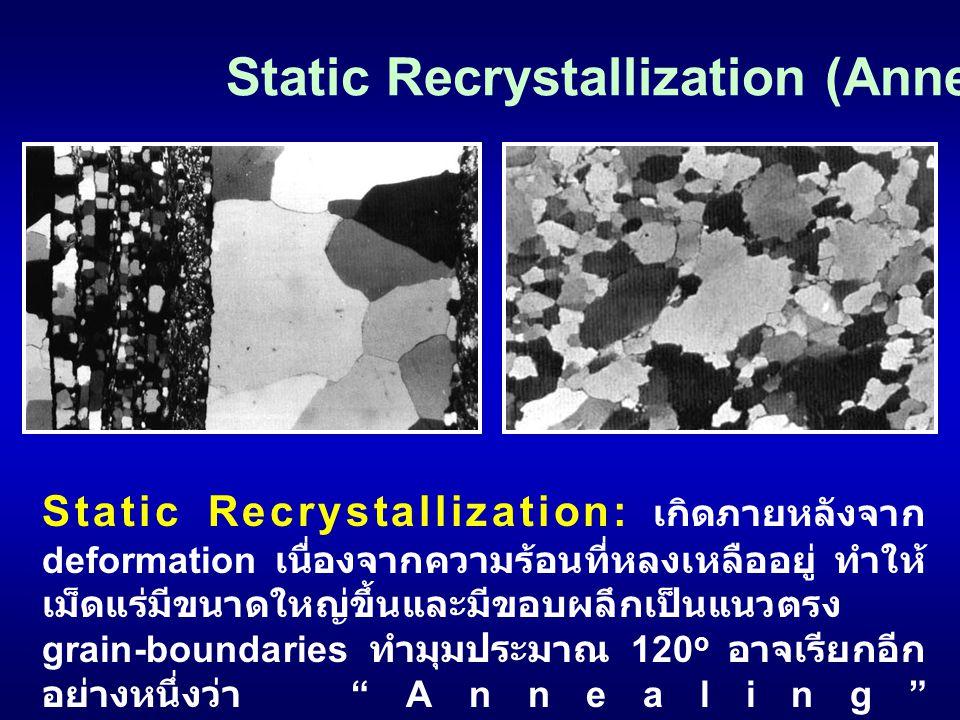Static Recrystallization: เกิดภายหลังจาก deformation เนื่องจากความร้อนที่หลงเหลืออยู่ ทำให้ เม็ดแร่มีขนาดใหญ่ขึ้นและมีขอบผลึกเป็นแนวตรง grain-boundari
