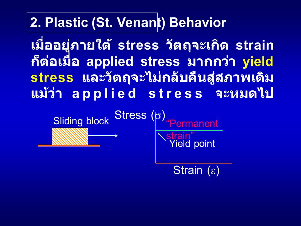 2. Plastic (St. Venant) Behavior เมื่ออยู่ภายใต้ stress วัตถุจะเกิด strain ก็ต่อเมื่อ applied stress มากกว่า yield stress และวัตถุจะไม่กลับคืนสู่สภาพเ