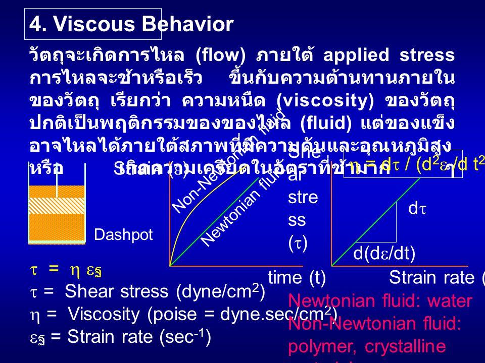 4. Viscous Behavior วัตถุจะเกิดการไหล (flow) ภายใต้ applied stress การไหลจะช้าหรือเร็ว ขึ้นกับความต้านทานภายใน ของวัตถุ เรียกว่า ความหนืด (viscosity)