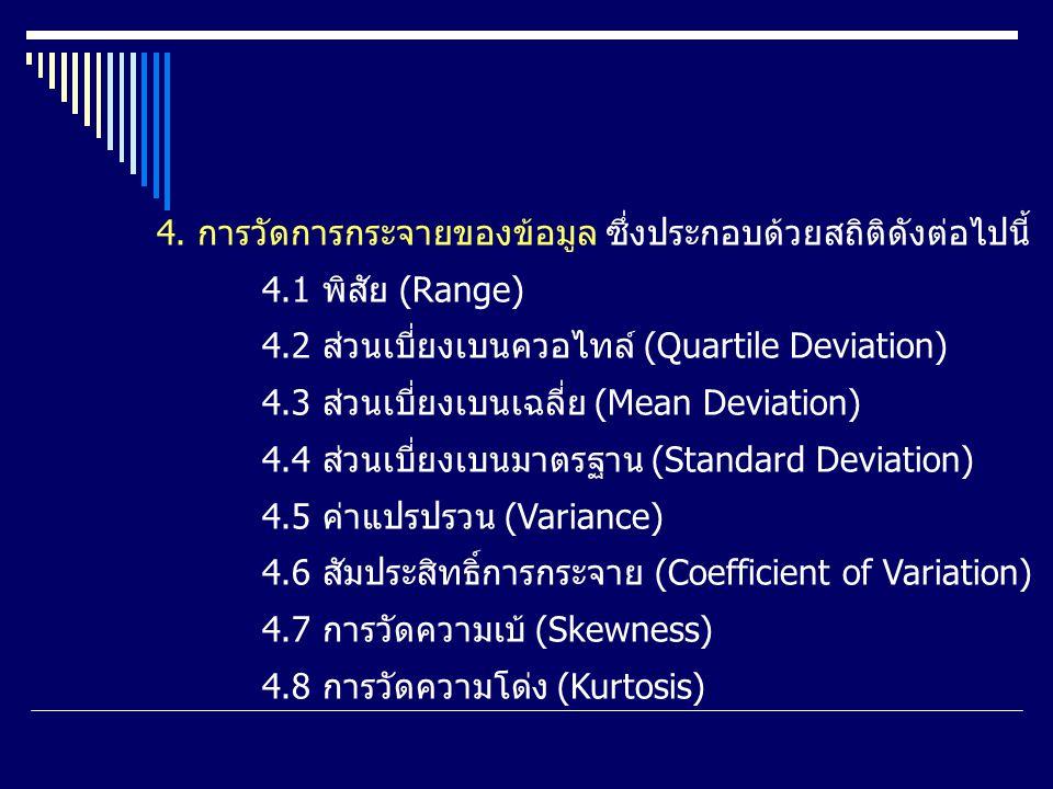 2. การแจกแจงความถี่ (Fraquency 3. การวัดแนวโน้มเข้าสู่ส่วนกลาง ซึ่งประกอบด้วยสถิติต่อไปนี้ 3.1 ตัวกลางเลขคณิตหรือค่าเฉลี่ย (Arithmatic Mean or Average