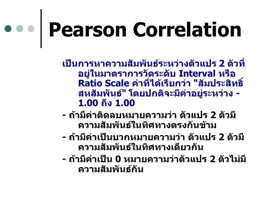 Pearson Correlation เป็นการหาความสัมพันธ์ระหว่างตัวแปร 2 ตัวที่ อยู่ในมาตราการวัดระดับ Interval หรือ Ratio Scale ค่าที่ได้เรียกว่า สัมประสิทธิ์ สหสัมพันธ์ โดยปกติจะมีค่าอยู่ระหว่าง - 1.00 ถึง 1.00 - ถ้ามีค่าติดลบหมายความว่า ตัวแปร 2 ตัวมี ความสัมพันธ์ในทิศทางตรงกันข้าม - ถ้ามีค่าเป็นบวกหมายความว่า ตัวแปร 2 ตัวมี ความสัมพันธ์ในทิศทางเดียวกัน - ถ้ามีค่าเป็น 0 หมายความว่าตัวแปร 2 ตัวไม่มี ความสัมพันธ์กัน