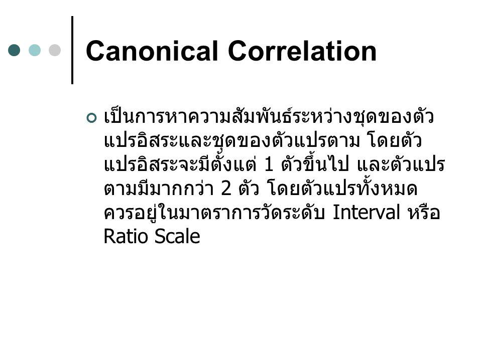 Canonical Correlation เป็นการหาความสัมพันธ์ระหว่างชุดของตัว แปรอิสระและชุดของตัวแปรตาม โดยตัว แปรอิสระจะมีตั้งแต่ 1 ตัวขึ้นไป และตัวแปร ตามมีมากกว่า 2 ตัว โดยตัวแปรทั้งหมด ควรอยู่ในมาตราการวัดระดับ Interval หรือ Ratio Scale