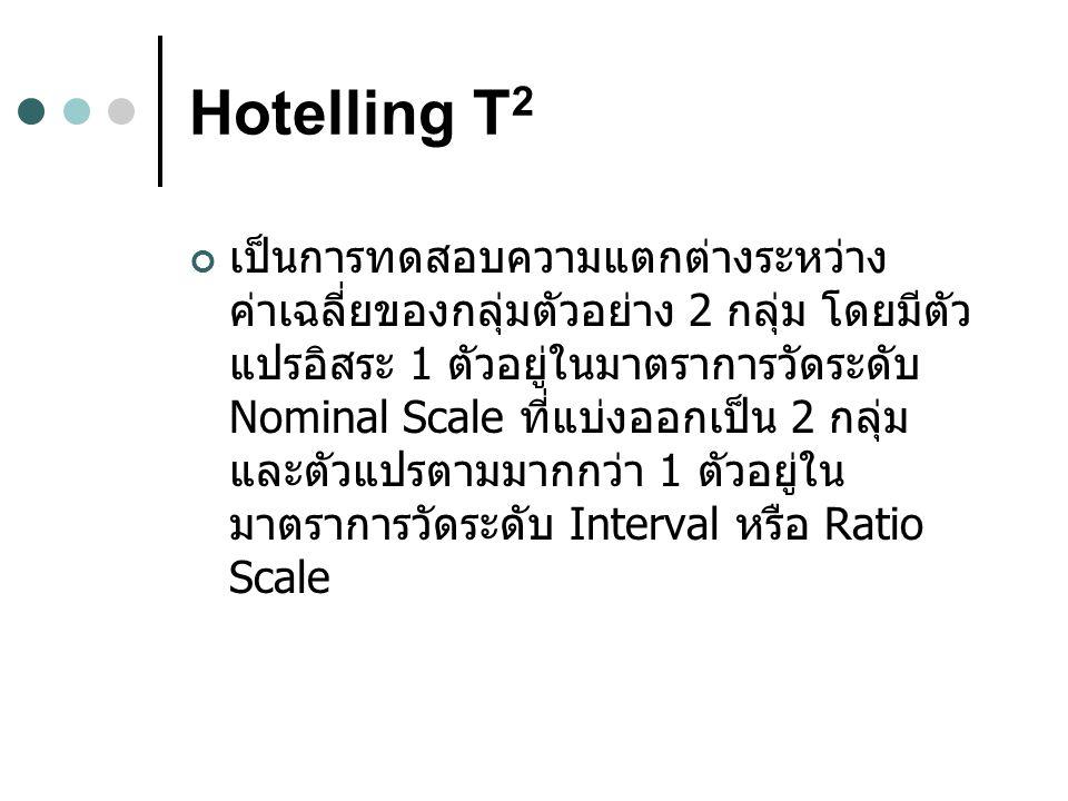 Hotelling T 2 เป็นการทดสอบความแตกต่างระหว่าง ค่าเฉลี่ยของกลุ่มตัวอย่าง 2 กลุ่ม โดยมีตัว แปรอิสระ 1 ตัวอยู่ในมาตราการวัดระดับ Nominal Scale ที่แบ่งออกเป็น 2 กลุ่ม และตัวแปรตามมากกว่า 1 ตัวอยู่ใน มาตราการวัดระดับ Interval หรือ Ratio Scale