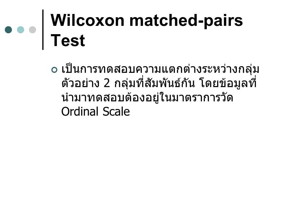 Wilcoxon matched-pairs Test เป็นการทดสอบความแตกต่างระหว่างกลุ่ม ตัวอย่าง 2 กลุ่มที่สัมพันธ์กัน โดยข้อมูลที่ นำมาทดสอบต้องอยู่ในมาตราการวัด Ordinal Scale