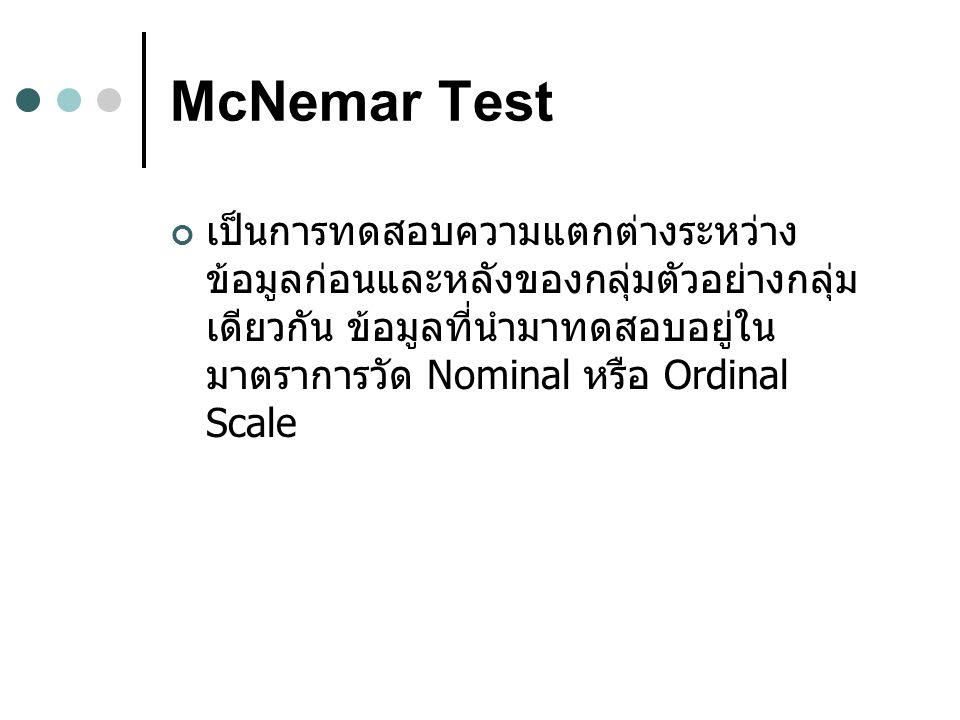 McNemar Test เป็นการทดสอบความแตกต่างระหว่าง ข้อมูลก่อนและหลังของกลุ่มตัวอย่างกลุ่ม เดียวกัน ข้อมูลที่นำมาทดสอบอยู่ใน มาตราการวัด Nominal หรือ Ordinal Scale