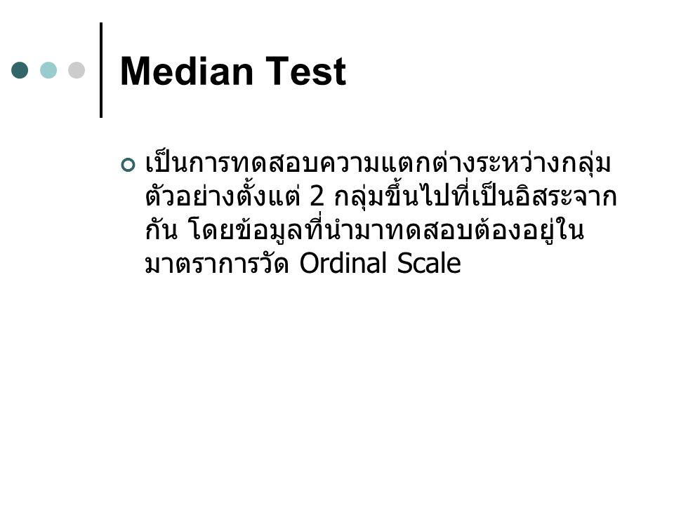 Median Test เป็นการทดสอบความแตกต่างระหว่างกลุ่ม ตัวอย่างตั้งแต่ 2 กลุ่มขึ้นไปที่เป็นอิสระจาก กัน โดยข้อมูลที่นำมาทดสอบต้องอยู่ใน มาตราการวัด Ordinal Scale