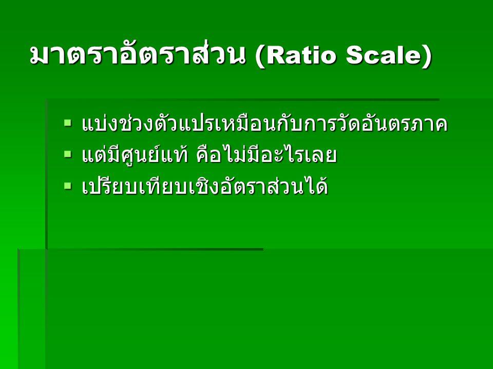 มาตราอัตราส่วน (Ratio Scale)  แบ่งช่วงตัวแปรเหมือนกับการวัดอันตรภาค  แบ่งช่วงตัวแปรเหมือนกับการวัดอันตรภาค  แต่มีศูนย์แท้ คือไม่มีอะไรเลย  แต่มีศูนย์แท้ คือไม่มีอะไรเลย  เปรียบเทียบเชิงอัตราส่วนได้