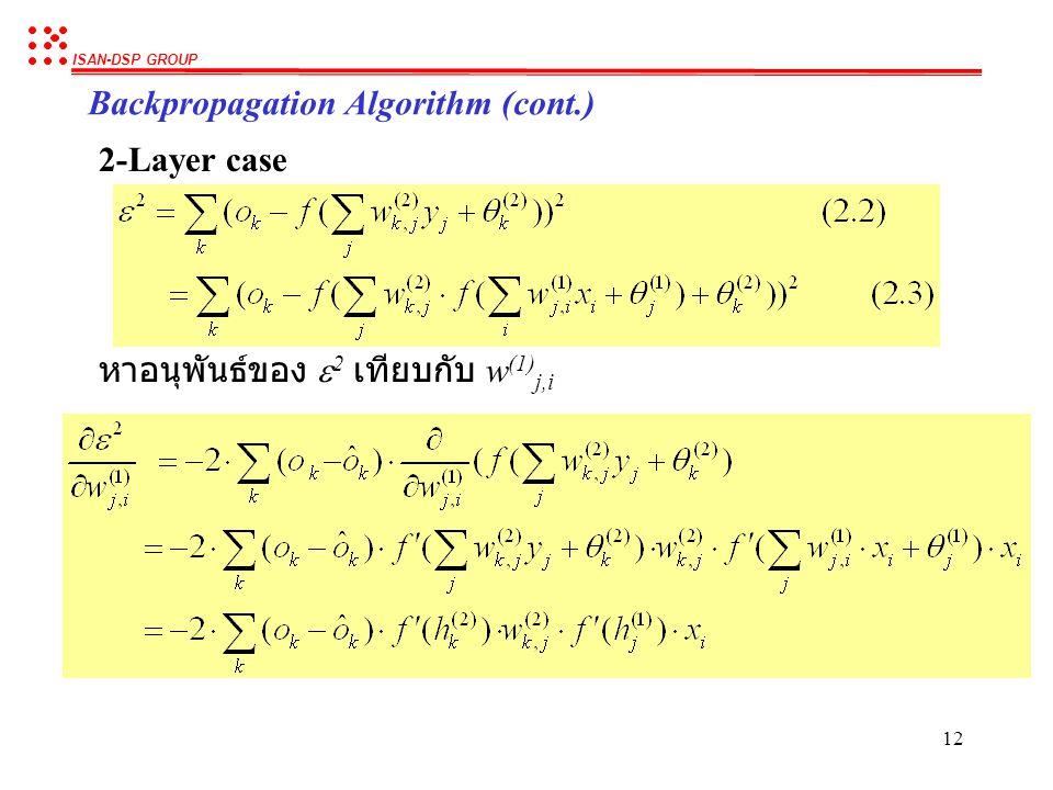 ISAN-DSP GROUP 11 Backpropagation Algorithm (cont.) 2-Layer case หาอนุพันธ์ของ  2 เทียบกับ w (2) k,j หาอนุพันธ์ของ  2 เทียบกับ  (2) k