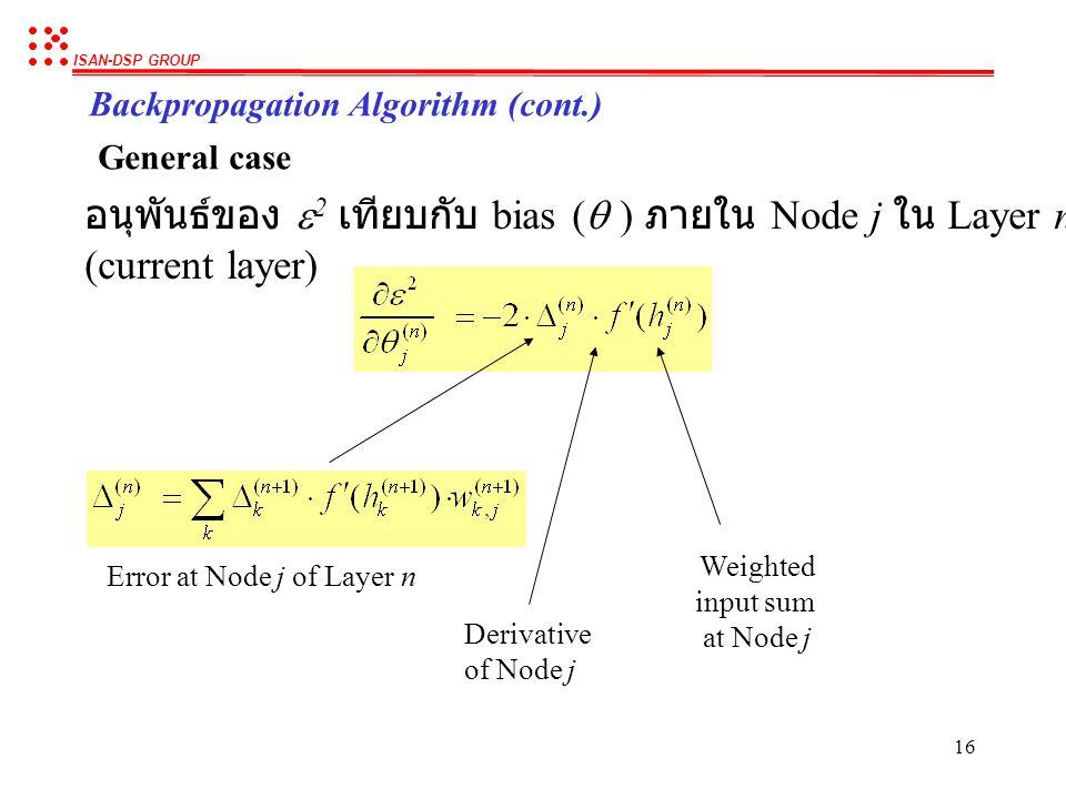 ISAN-DSP GROUP 15 Backpropagation Algorithm (cont.) General case อนุพันธ์ของ  2 เทียบกับ weight ที่เชื่อมระหว่าง Node j ใน Layer n (current layer) กั
