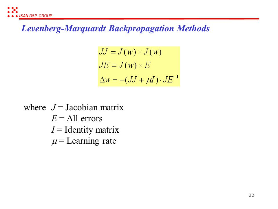ISAN-DSP GROUP 21 Updating Weights : Newton's Methods Advantages:  Fast (quadratic convergence) Disadvantages:  Computationally expensive (requires