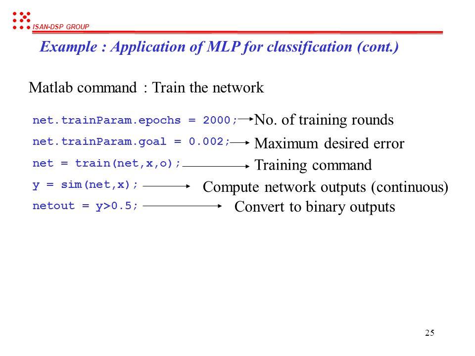 ISAN-DSP GROUP 24 PR = [min(x(1,:)) max(x(1,:)); min(x(2,:)) max(x(2,:))]; S1 = 10; S2 = 1; TF1 = 'logsig'; TF2 = 'logsig'; BTF = 'traingd'; BLF = 'le