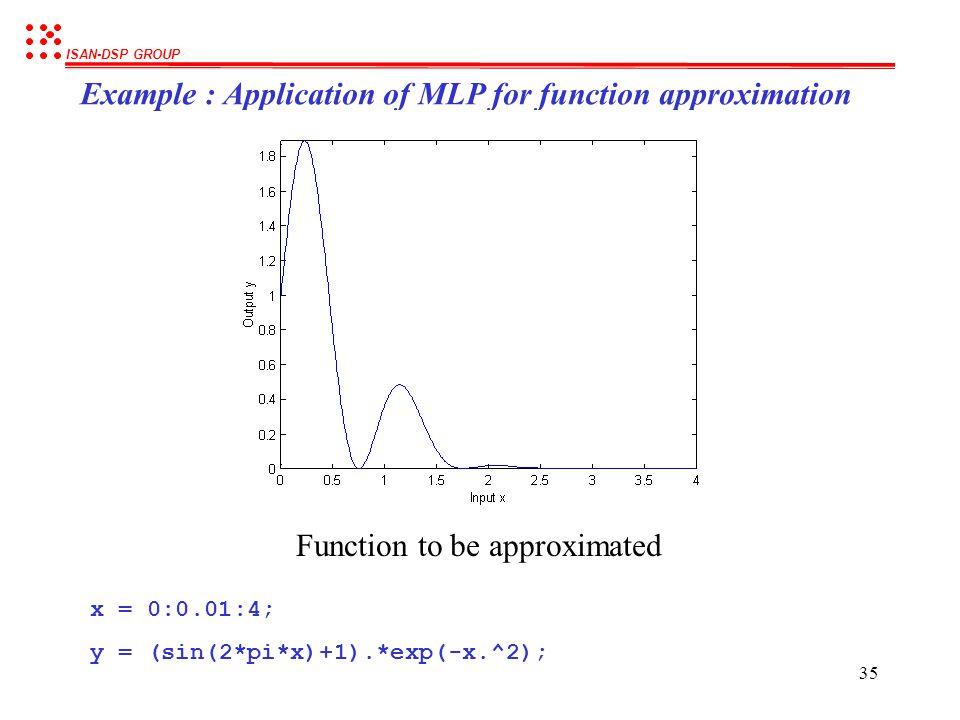 ISAN-DSP GROUP 34 Example : Application of MLP for classification (cont.) สรุปการทำงานของ วงจรข่ายนิวรอลในการแยกแยะข้อมูล - ในงานด้าน Classification น