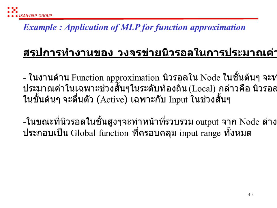 ISAN-DSP GROUP 46 Function approximated using the network Example : Application of MLP for function approximation