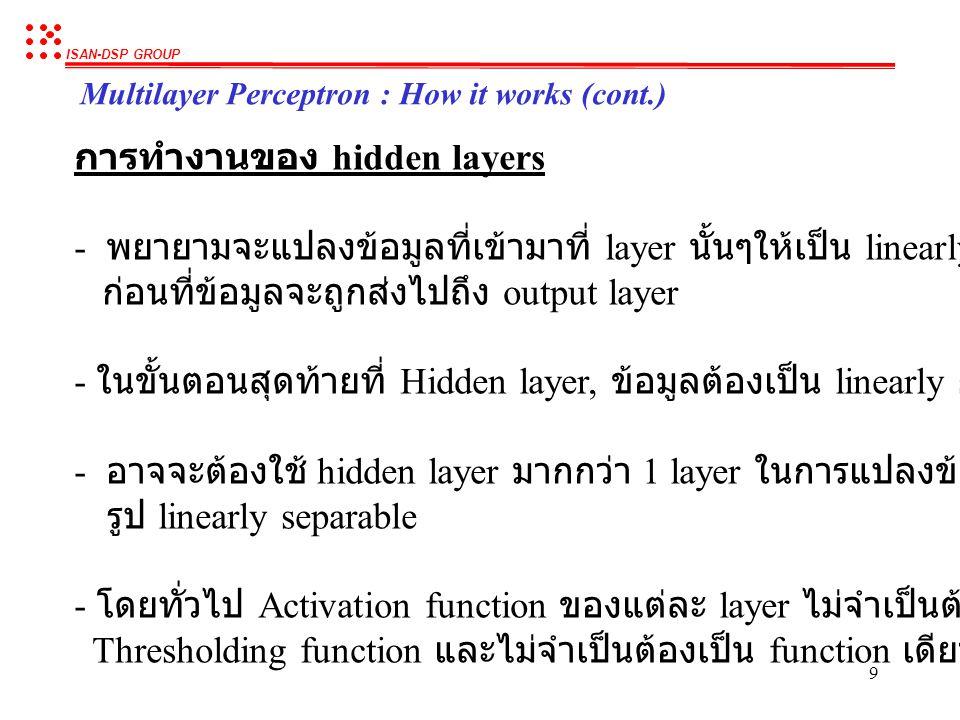 ISAN-DSP GROUP 9 Multilayer Perceptron : How it works (cont.) การทำงานของ hidden layers - พยายามจะแปลงข้อมูลที่เข้ามาที่ layer นั้นๆให้เป็น linearly separable ก่อนที่ข้อมูลจะถูกส่งไปถึง output layer - ในขั้นตอนสุดท้ายที่ Hidden layer, ข้อมูลต้องเป็น linearly separable - อาจจะต้องใช้ hidden layer มากกว่า 1 layer ในการแปลงข้อมูลให้อยู่ใน รูป linearly separable - โดยทั่วไป Activation function ของแต่ละ layer ไม่จำเป็นต้องเป็น Thresholding function และไม่จำเป็นต้องเป็น function เดียวกัน