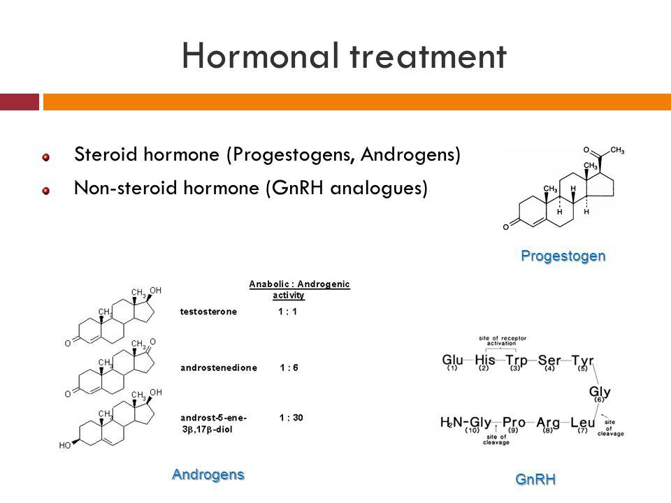 Steroid hormone (Progestogens, Androgens) Non-steroid hormone (GnRH analogues) Progestogen Androgens GnRH