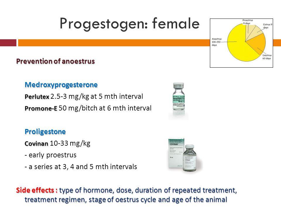 Progestogen: female Prevention of anoestrus Medroxyprogesterone Perlutex Perlutex 2.5-3 mg/kg at 5 mth interval Promone-E Promone-E 50 mg/bitch at 6 m