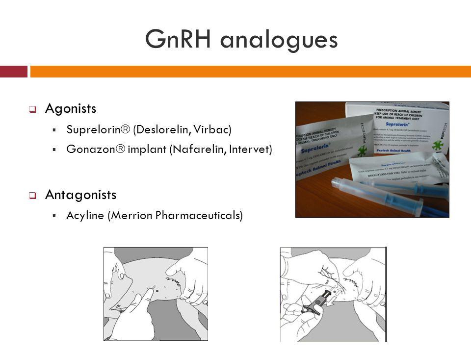 GnRH analogues  Agonists  Suprelorin  (Deslorelin, Virbac)  Gonazon  implant (Nafarelin, Intervet)  Antagonists  Acyline (Merrion Pharmaceutica