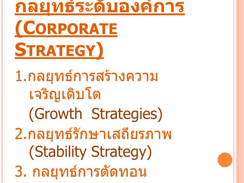 กลยุทธ์ระดับองค์การ (C ORPORATE S TRATEGY ) 1. กลยุทธ์การสร้างความ เจริญเติบโต (Growth Strategies) 2. กลยุทธ์รักษาเสถียรภาพ (Stability Strategy) 3. กล