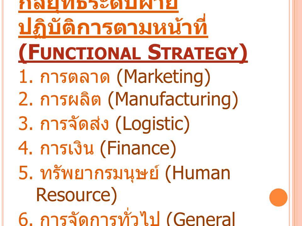 กลยุทธ์ระดับฝ่าย ปฏิบัติการตามหน้าที่ (F UNCTIONAL S TRATEGY ) 1. การตลาด (Marketing) 2. การผลิต (Manufacturing) 3. การจัดส่ง (Logistic) 4. การเงิน (F