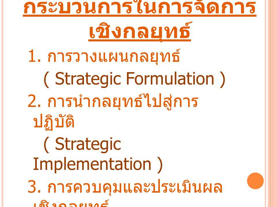 กระบวนการในการจัดการ เชิงกลยุทธ์ 1. การวางแผนกลยุทธ์ ( Strategic Formulation ) 2. การนำกลยุทธ์ไปสู่การ ปฏิบัติ ( Strategic Implementation ) 3. การควบค