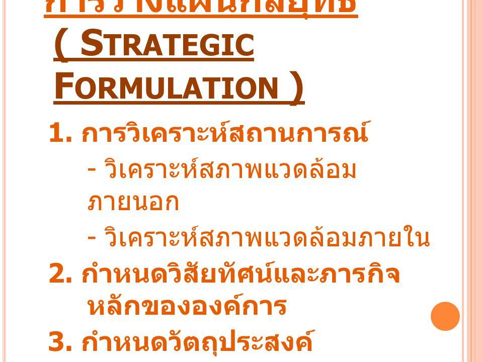 การวางแผนกลยุทธ์ ( S TRATEGIC F ORMULATION ) 1. การวิเคราะห์สถานการณ์ - วิเคราะห์สภาพแวดล้อม ภายนอก - วิเคราะห์สภาพแวดล้อมภายใน 2. กำหนดวิสัยทัศน์และภ