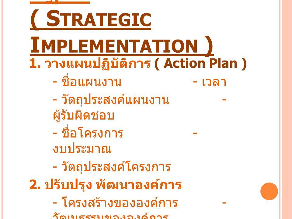 การนำกลยุทธ์ไปสู่การ ปฏิบัติ ( S TRATEGIC I MPLEMENTATION ) 1. วางแผนปฏิบัติการ ( Action Plan ) - ชื่อแผนงาน - เวลา - วัตถุประสงค์แผนงาน - ผู้รับผิดชอ