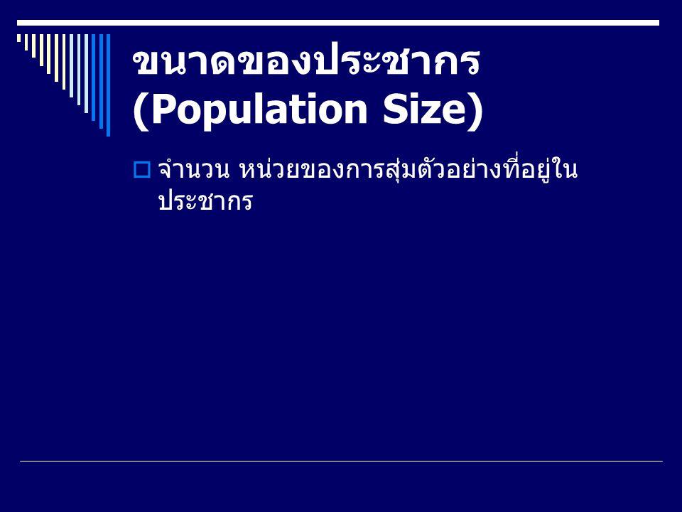 กระบวนการสุ่มตัวอย่าง  การกำหนดประชากร (Define the target population) ผู้วิจัยจะต้องกำหนดกลุ่มของประชากร ที่สนใจจะศึกษาให้ชัดเจน เพื่อให้สามารถเลือกกลุ่ม ตัวอย่างได้ครอบคลุมลักษณะประชากรตามที่ต้องการ และเพื่อกำหนดส่วนประกอบที่เกี่ยวข้องกับกลุ่ม ประชากร องค์ประกอบสำคัญ สมาชิกหรือหน่วยข้อมูล (Element) หน่วยของการสุ่มตัวอย่าง (Sampling Units) ขอบเขตของการสุ่ม (Extent) ระยะเวลา (Time)